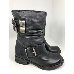 Matisse Arion Black Leather Moto Mid Calf Boots 6M