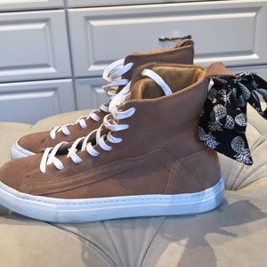 Zara high top sneakers with box accent