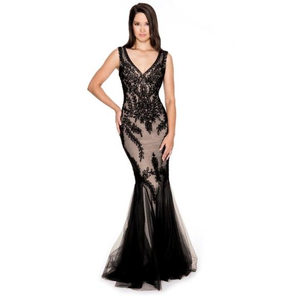 80c0d047b28 Cachet Dresses   Skirts - Cachet Illusion Mermaid gown V Neck Sleeveless