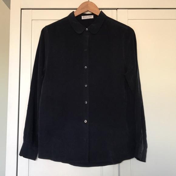Everlane Tops - Everlane Round Collar Silk Shirt, rare!