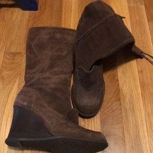 BCBG girls knee high brown suede boots