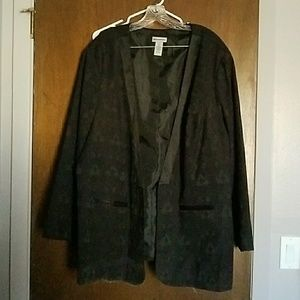 Black Blazer with Lace and Satin accents 3x
