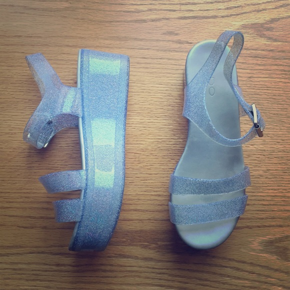 7f3ee822410 Aldo Shoes - Silver Holographic Platform Jellies