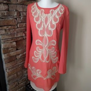 Ark & Co NWT stunning coral dress with embroidery