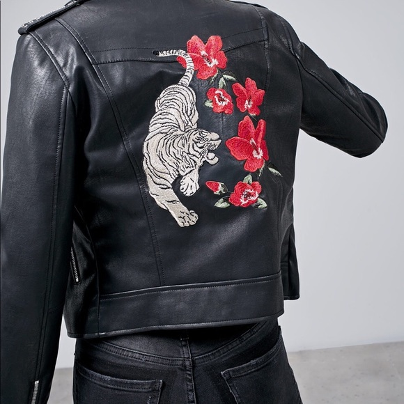 Jackets Coats Faux Leather Moto Jacket Tigerflower Embroidery