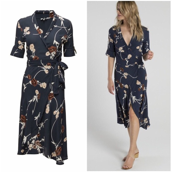 0082e7fc Ganni Dresses & Skirts - Ganni Navy Floral Wrap Dress