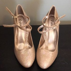 Qupid Sparkle Gold High Heels