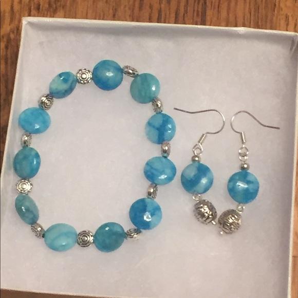 57 off JK Designs Jewelry Bright Blue Agate Silver Bracelet