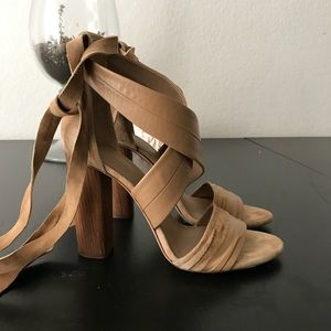 Vince Block Heels, wraps around ankle, open toe.