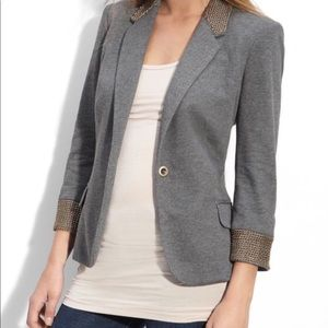 Aryn K gray gold chain Career jacket blazer
