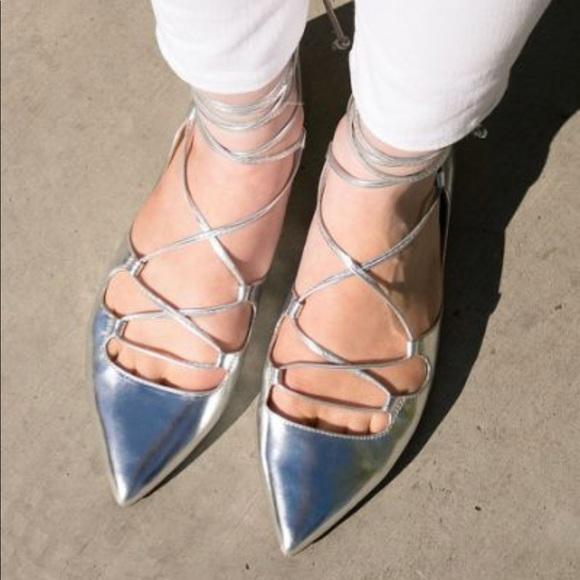 0455b9632f1 Banana republic silver ankle strap ballet flats