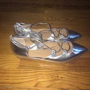 7c462093248 Banana Republic Shoes - Banana republic silver ankle strap ballet flats
