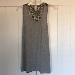 Tops - Gray Racer Back Tank with Leopard Print Back