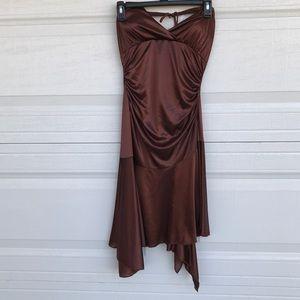 Chocolate Brown Halter Homecoming Dress