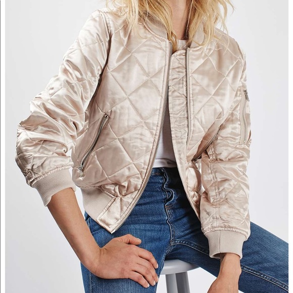 c36ad5266 Topshop shiny pink gold quilted bomber jacket NWT