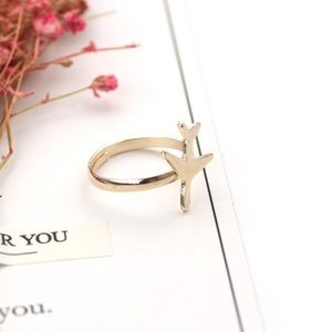 Jewelry - Rose Gold Dainty Airplane Ring Adjustable Size