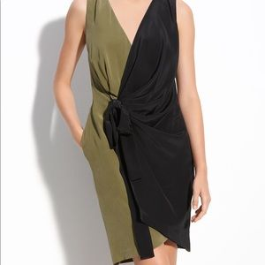Robert Rodriguez faux wrap green and black dress
