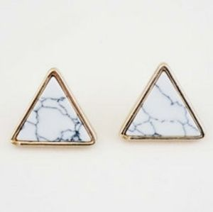 Jewelry - (3/$10) Marble Triangle Stud Earrings (Gold)