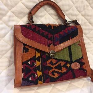 Kilim rug leather cross body bag