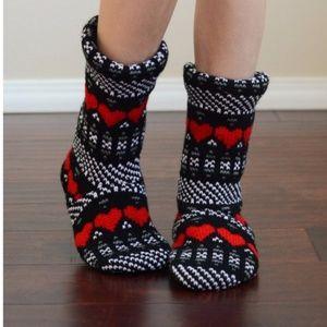 Cozy Knit Heart Slipper Bootie Socks