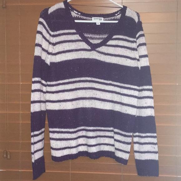 50% off St. John's Bay Sweaters - purple & white striped sweater ...