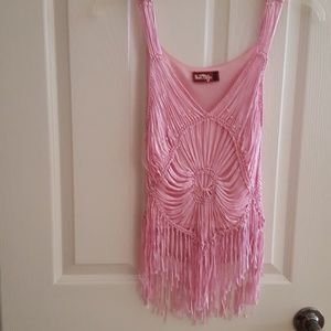 Pink woven fringed tank