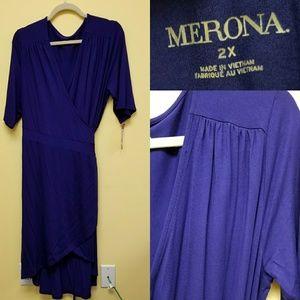 Merona blue wrap high low dress NWT 2X