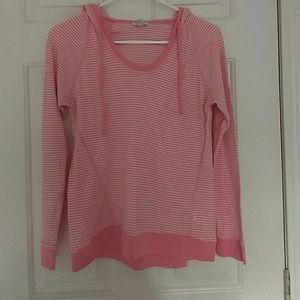 Women's long sleeve hooded striped pink and white