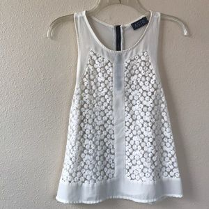 ASTR Ivory Daisy Embroidered Tank Top