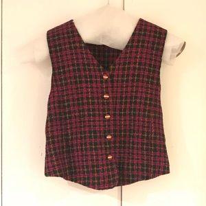 Vintage Hot Pink and Black Tweed Vest