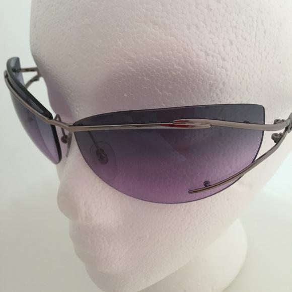 4259b6dd72 RARE FERRAGAMO Rimless Gray Lilac Lens Sunglasses