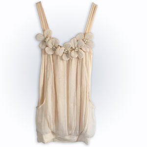 Strappy Cami with 3D Flowers. Pockets, Bubble Hem