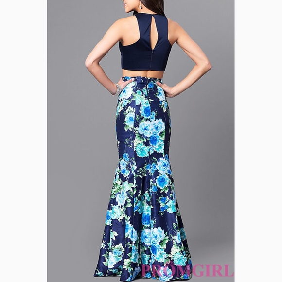 Sequin Hearts Dresses Navy Bluefloral 2 Piece Long Prom Dress