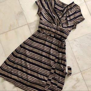 talbots | navy&tan dress