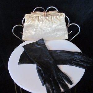 Glamorous Vintage Black Leather Gloves