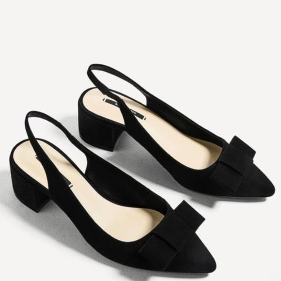 2c438b984fc1 New! Zara Chunk Heel Slingback Bow Suede 37. M 5a19d675f0137d1f38025c2b