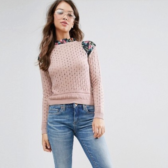 718deb5c9e Sweater with Pointelle Stitch Floral Panels