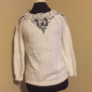 Lace White Fluffy Sweater