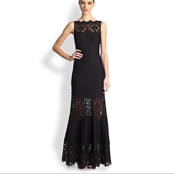 Tadashi Shoji Dresses | Black Lace Inset Sleeveless Gown | Poshmark