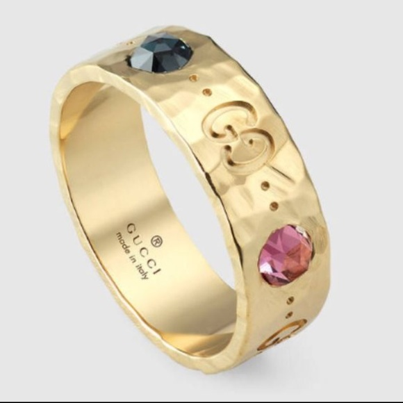 🌸🌟Gucci Icon Ring in 18k gold and color gems 🌸
