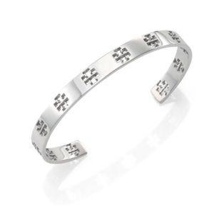 tory burch // silver t-logo cuff bracelet