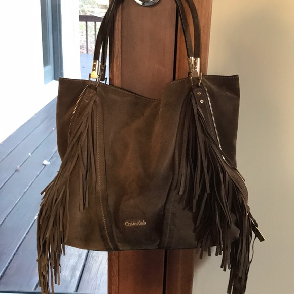 e858275690 Calvin Klein Handbags - Calvin Kline suede olive brown tote fringe bag