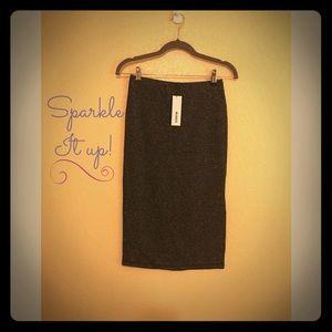 NWT BB Dakota Women's Stretch Knit Metallic Skirt