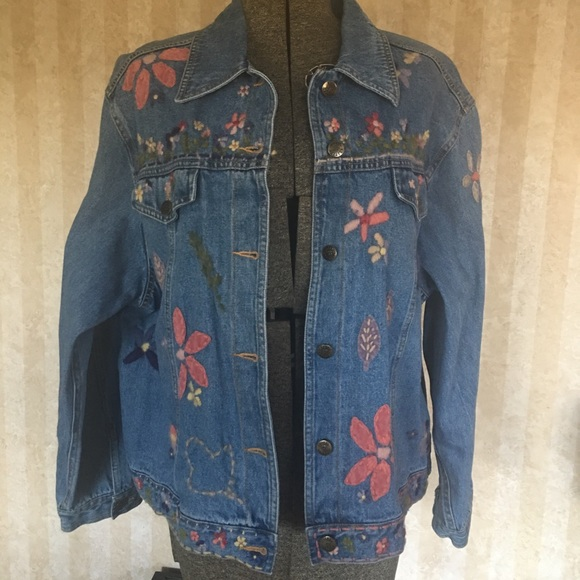 Susan Bristol Jackets & Blazers - Funky Hand Embroidered and Appliquéd Denim Jacket.