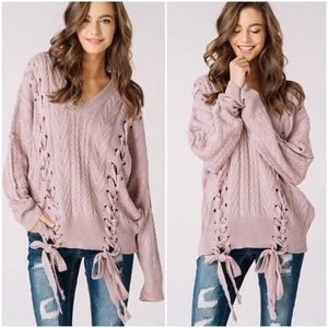 🆕LAST ONE Delaney Mauve Knit Braided Sweater