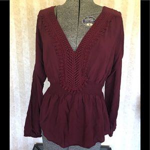 a.n.a. Burgundy Top With Lace Detail