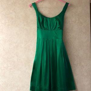 100% Silk Green Sleeveless Mini Dress