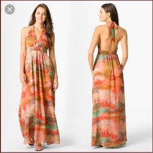 {JESSICA SIMPSON} Orange & Green Halter Maxi Dress