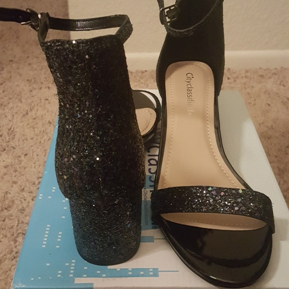 Classified Shoes | Chunky Black Glitter