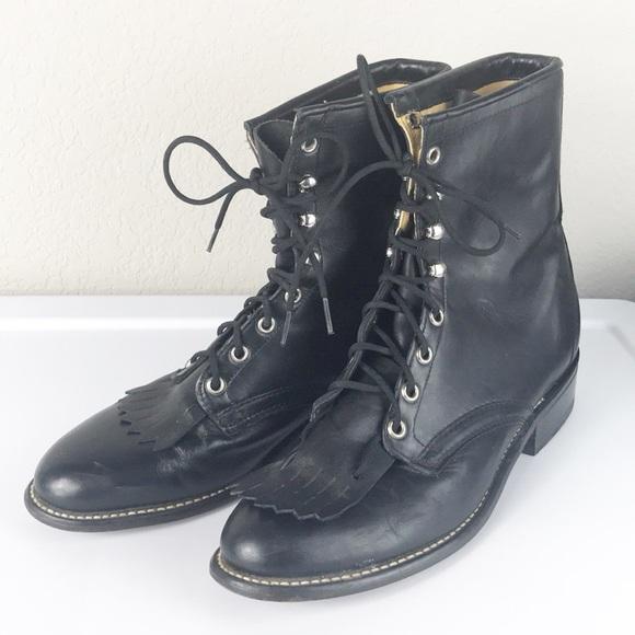 871163ec92731 VTG Laredo Leather Roper Kiltie Granny Boots USA